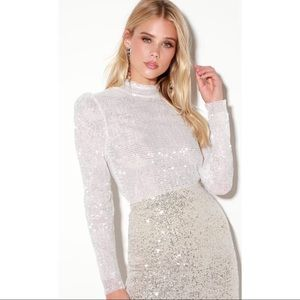 White Sequin Mock Neck Long Sleeve Top